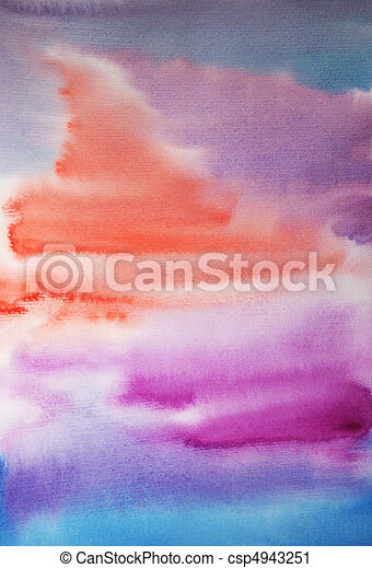 Watercolor hand painted art background for scrapbooking design - csp4943251
