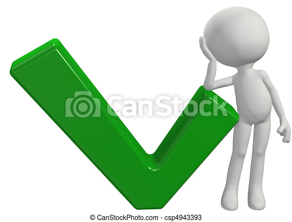 Cartoon 3D person leans on OK check mark - csp4943393