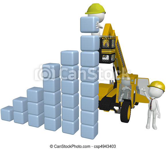 Construction equipment people building business chart - csp4943403