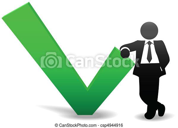 Business man symbol leans on OK check mark - csp4944916