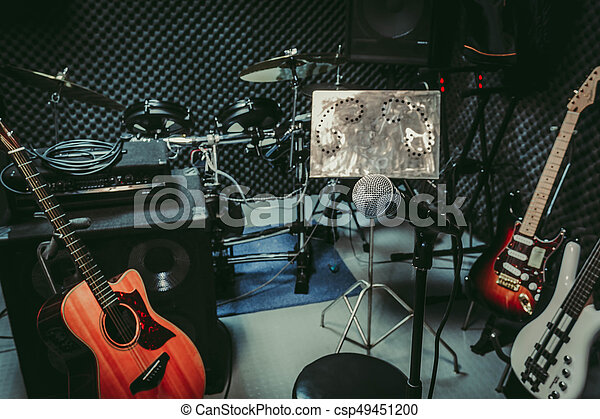 instrument rock music / musical band at home audio record room / studio recording.