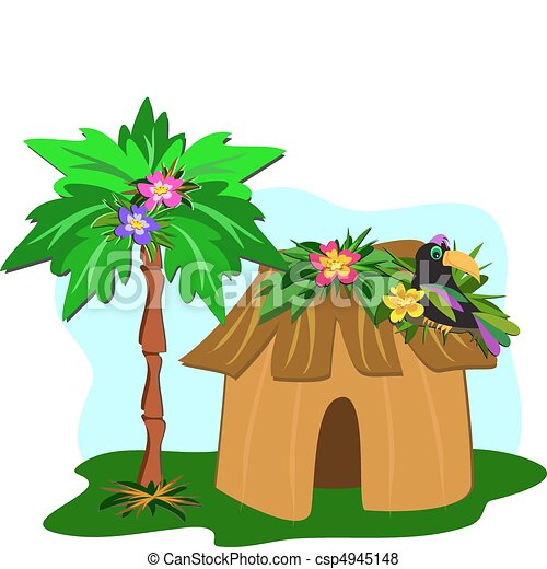 Tropical Hut, Palm Tree, and Toucan - csp4945148
