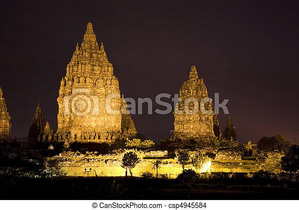 Prambanan Temple at Night, Yogyakarta, Indonesia - csp4945584