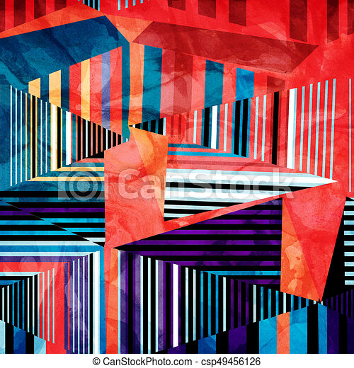 abstract watercolor geometric background - csp49456126
