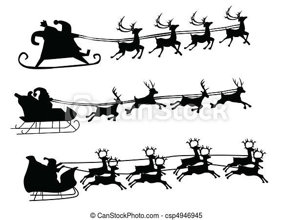 Flying Santa and Christmas Reindeer - csp4946945