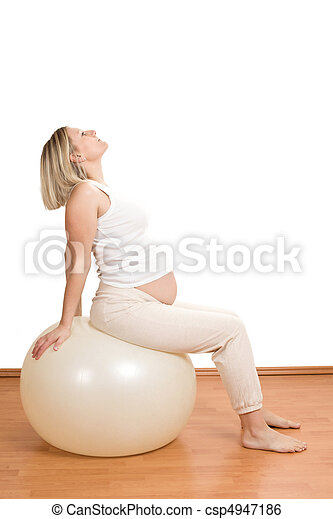 pregnant woman practicing physical exercise  - csp4947186