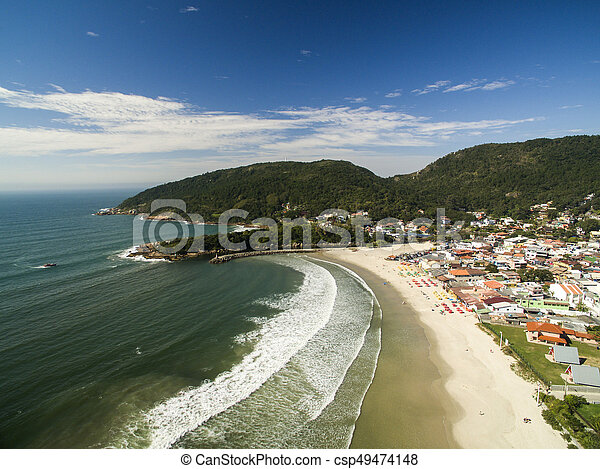 Aerial view Barra da Lagoa Beach in Florianopolis, Brazil. July, 2017. - csp49474148