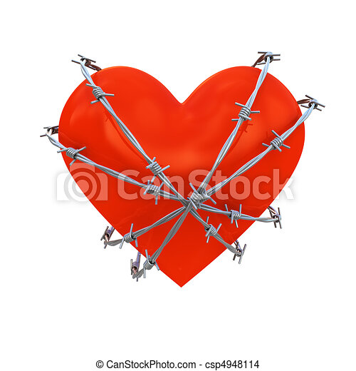 Heart wrapped with barbed wire - csp4948114