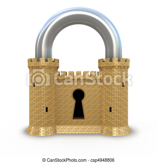Security padlock isolated on white - csp4948806