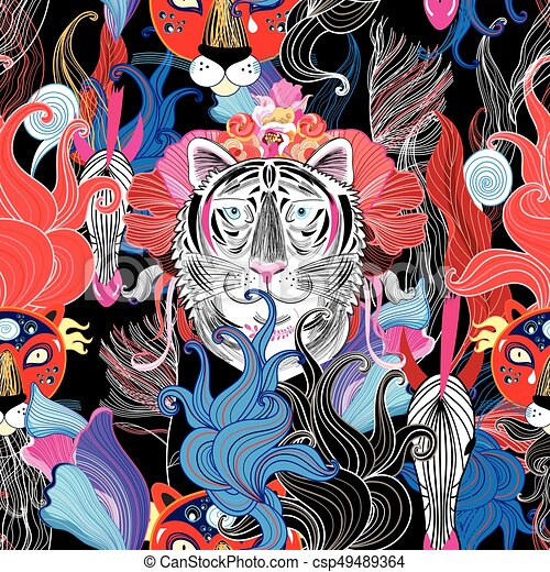 Seamless bright floral pattern of wild beasts - csp49489364