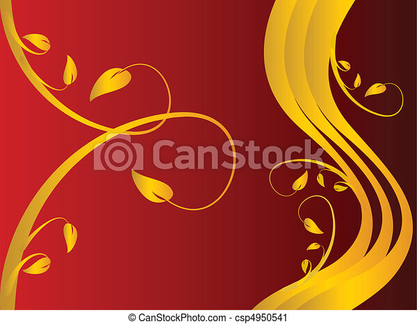 A red formal floral background - csp4950541