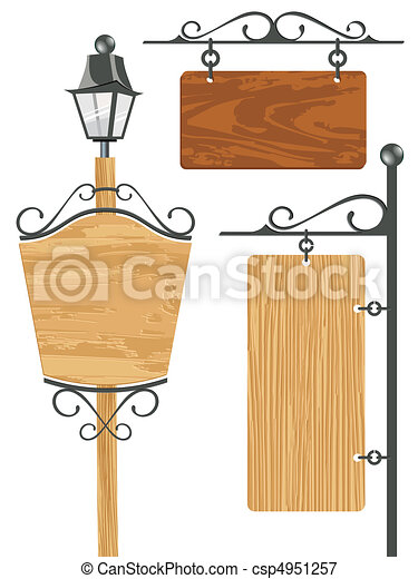 blank wooden signboard collection - csp4951257