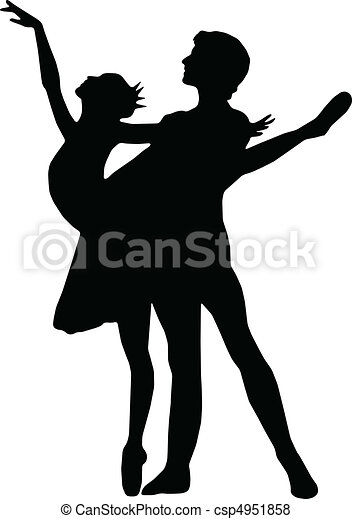Ballet dance girl and boy silhouettes vector - csp4951858