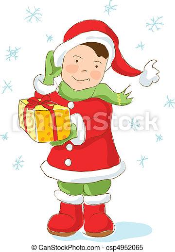 Christmas Dwarf holding present - csp4952065
