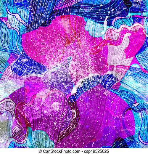 Abstract watercolor background with colorful wave - csp49525625