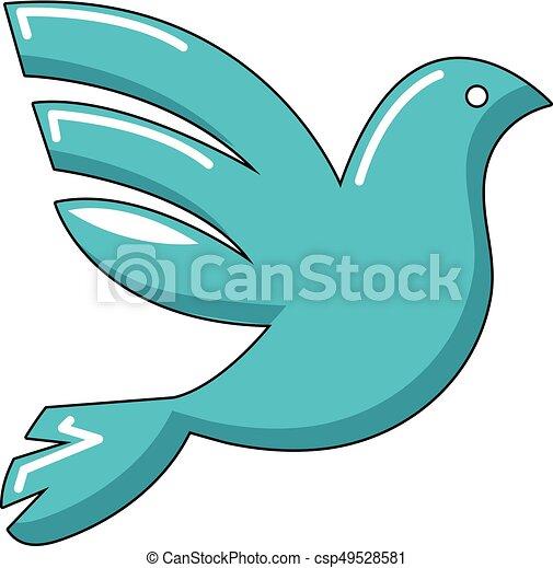 White peace pigeon icon, cartoon style - csp49528581