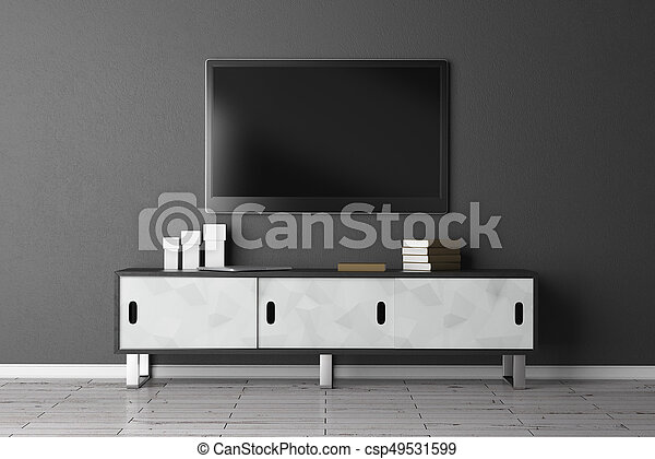 TV set with empty screen in interior with concrete wall and wooden floor. Show concept. Mock up, 3D Rendering