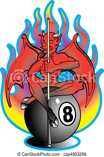 Tattoo Design Devil 8 Ball Clip Art - csp4953256