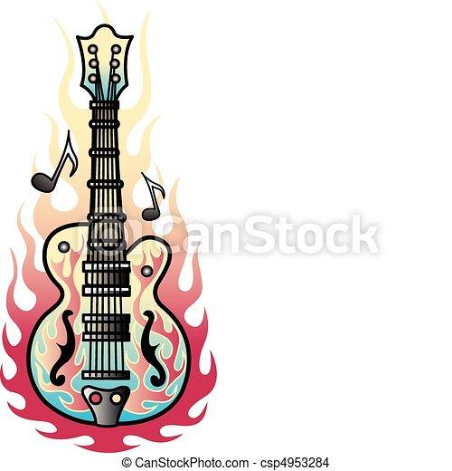 Guitar Designs Drawings Tattoo Design Guitar Flames