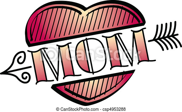 Tattoo Design Heart Mom Clip Art - csp4953288
