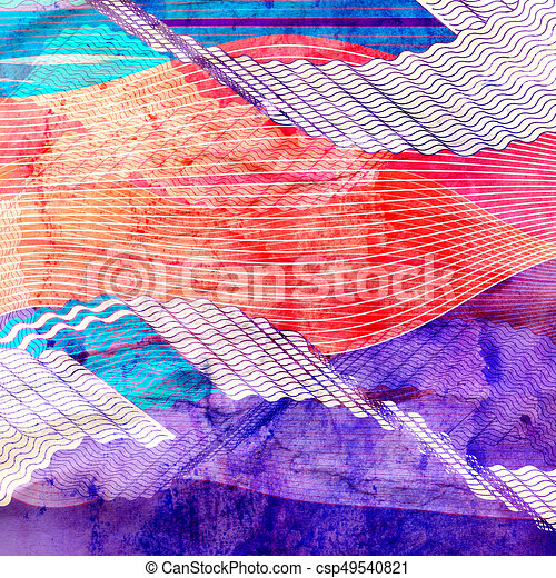 Abstract watercolor background with colorful wave - csp49540821