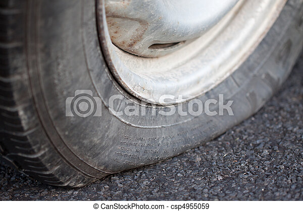 Closeup of a flat tire - csp4955059