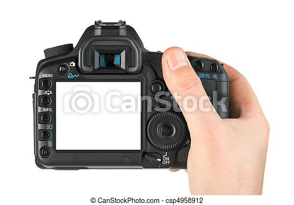 Photo camera in hand - csp4958912