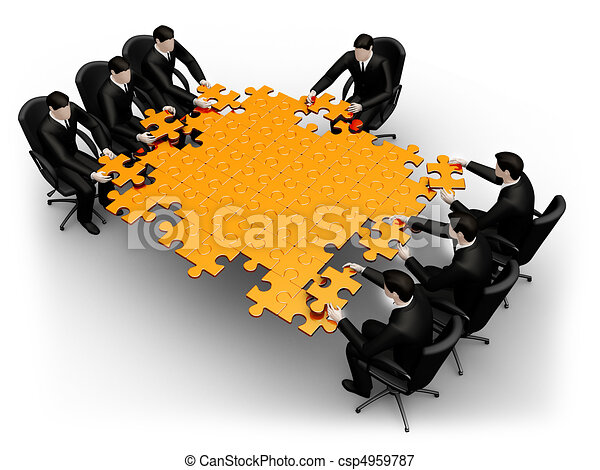 Business team building a puzzle - csp4959787