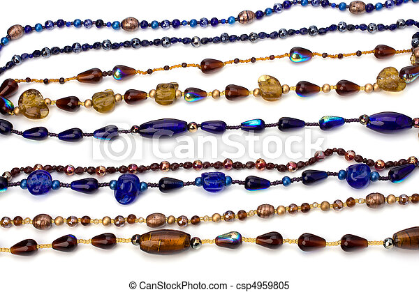 colourful beads background on white  - csp4959805