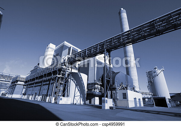 Modern industrial factory in blue tone - csp4959991