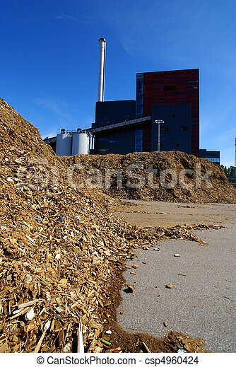 bio power plant with storage of wooden fuel - csp4960424