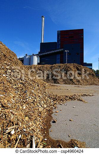 bio power plant with storage of wooden fuel  - csp4960424