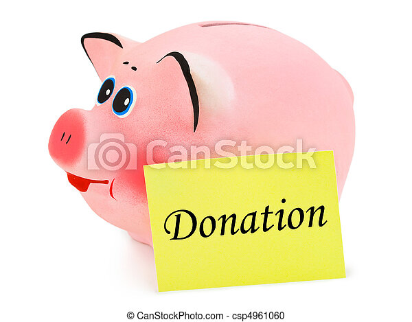 Piggy bank and paper Donation - csp4961060