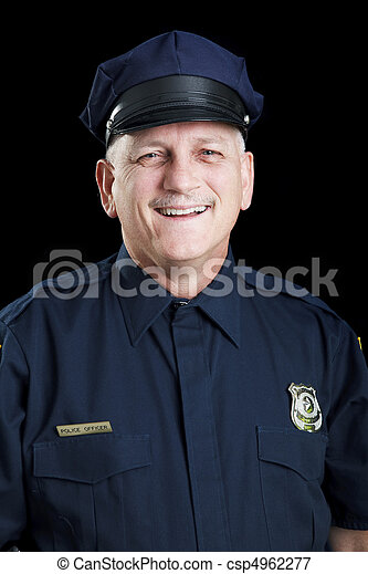 Friendly Policeman on Black - csp4962277