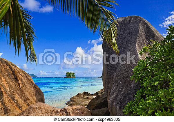 Beach Source d'Argent at Seychelles - csp4963005
