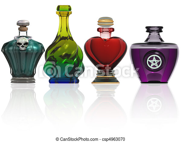 Collection of potion bottles - csp4963070