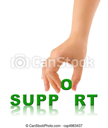 Hand and word Support - csp4963437