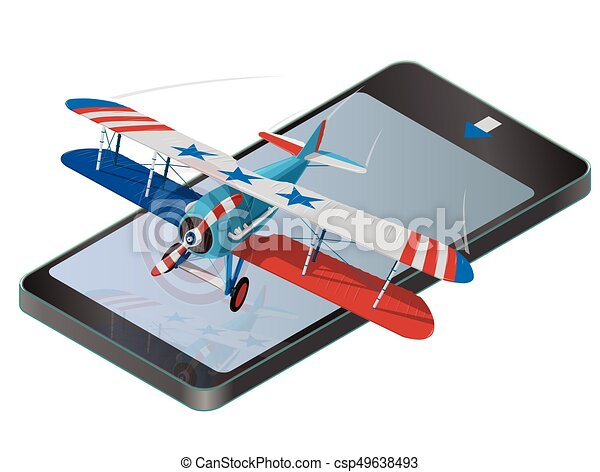 Biplane from World War on mobile phone with colors of flag of United States. - csp49638493