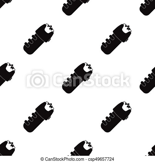 Taser icon in black style isolated on white background. Police symbol stock vector illustration. - csp49657724