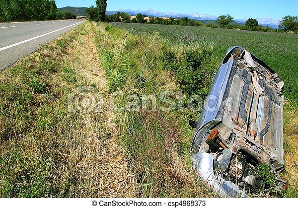 Car crash accident upside down vehicle - csp4968373