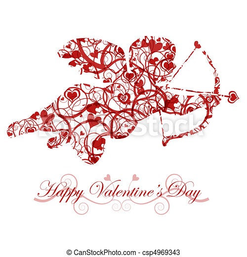 Valentine's Day Cupid with Bow and Heart Arrow - csp4969343