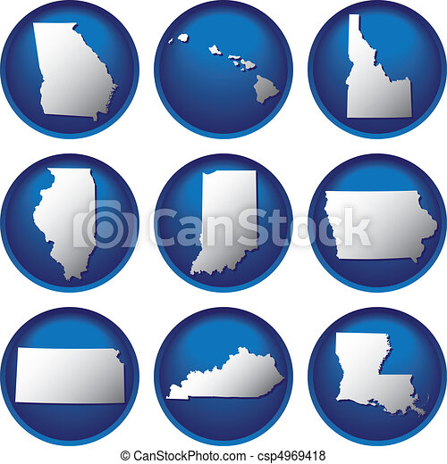 Nine United States Buttons - csp4969418