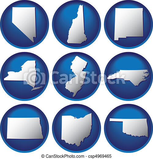 Nine United States Buttons - csp4969465