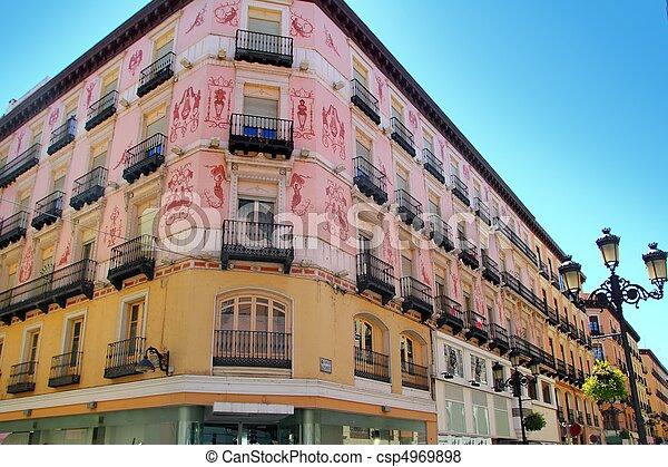 Zaragoza, cidade, Espanha, Alfonso, i, rua, coloful, predios - csp4969898