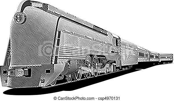 yellow old-fashioned train_engraving - csp4970131