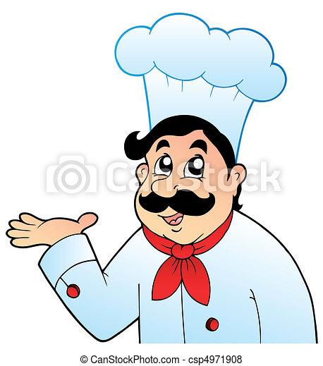 Cartoon chef in big hat - csp4971908