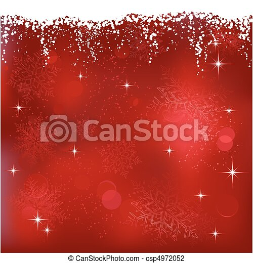 Red abstract background with stars and snowflakes. Great for Christmas or winter themes. - csp4972052