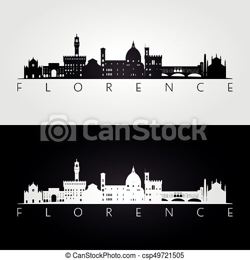 Florence skyline and landmarks silhouette - csp49721505
