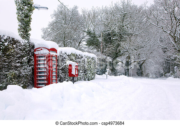 Red phonebox in the snow - csp4973684