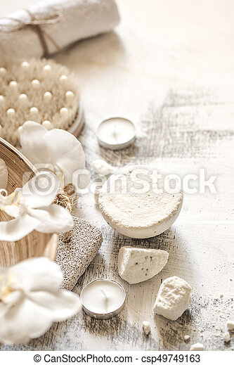 Beautiful Spa composition objects on wooden background ,concept of Spa treatments and relaxation